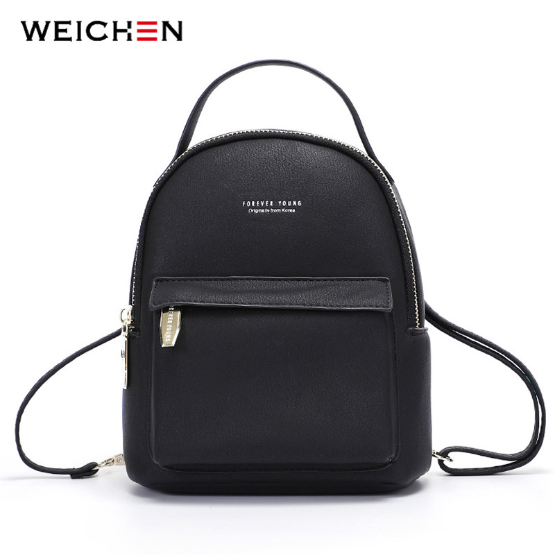 WEICHEN Multi-Function Women Backpack Leather Fashion Small Backpack Female Ladies Shoulder Bag Girl Satchel Mini Mochila Purse