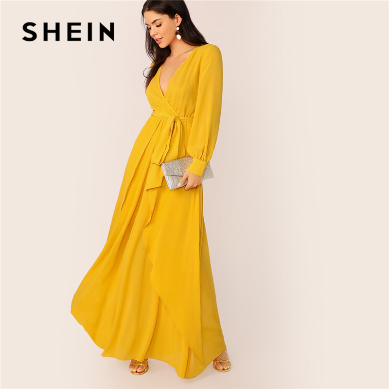 SHEIN Mustard Self Belted Wrap Maxi Dress Women Glamorous High Waist V Neck Party Dress Ladies Spring Bishop Sleeve Long Dresses