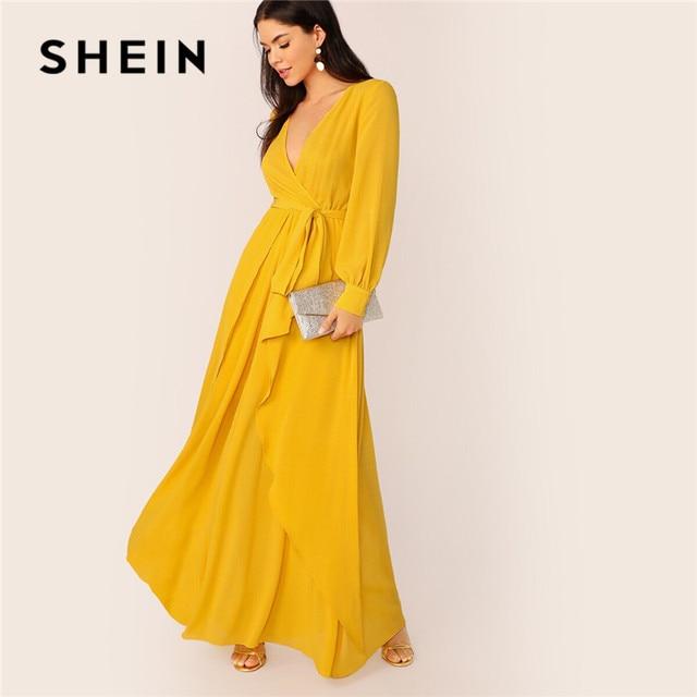 فستان ماكسي نسائي من SHEIN مزود بحزام ذاتي من الخردل ، فستان حفلات برقبة عالية وخصر على شكل V ، فساتين طويلة للسيدات ربيعية بأكمام طويلة
