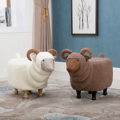 Taburete creativo para zapatos de cabra, taburete de madera sólida para sofá
