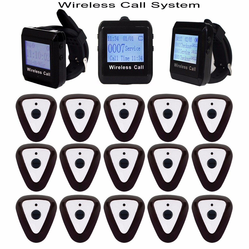 Restaurant Pager Wireless Calling System 3pcs Wrist Watch Receiver +15pcs Sliver Call Transmitter Button Pager F3307 restaurant pager wireless calling system 1pcs receiver host 4pcs watch receiver 1pcs signal repeater 42pcs call button f3285c