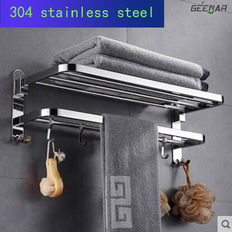 купить 304 stainless steel bath towel rack, bathroom folding rack, bathroom towel rack, bathroom hardware pendant. по цене 3391.72 рублей