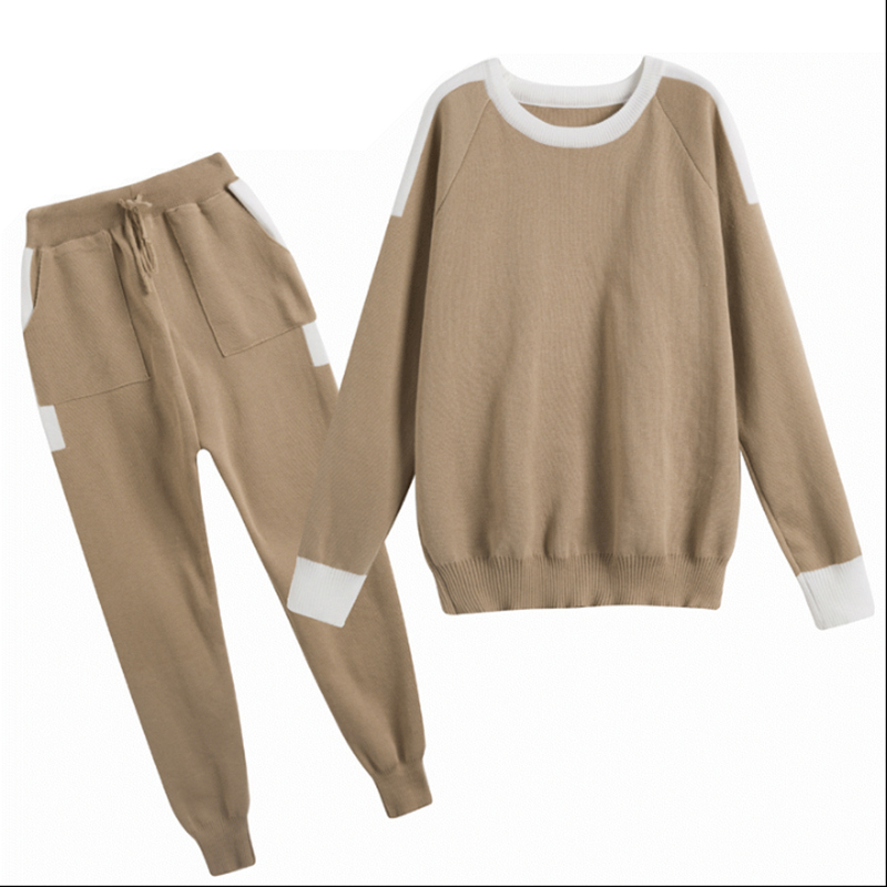 New Women S Knitted Suit 2 Piece Tracksuit Set Sporting Female Sportswear Loose Tops +Long Pant