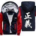 New ONE PIECE Hoodies Anime Justice Hooded Winter cotton Coats Jackets Men Cardigan Sweatshirts