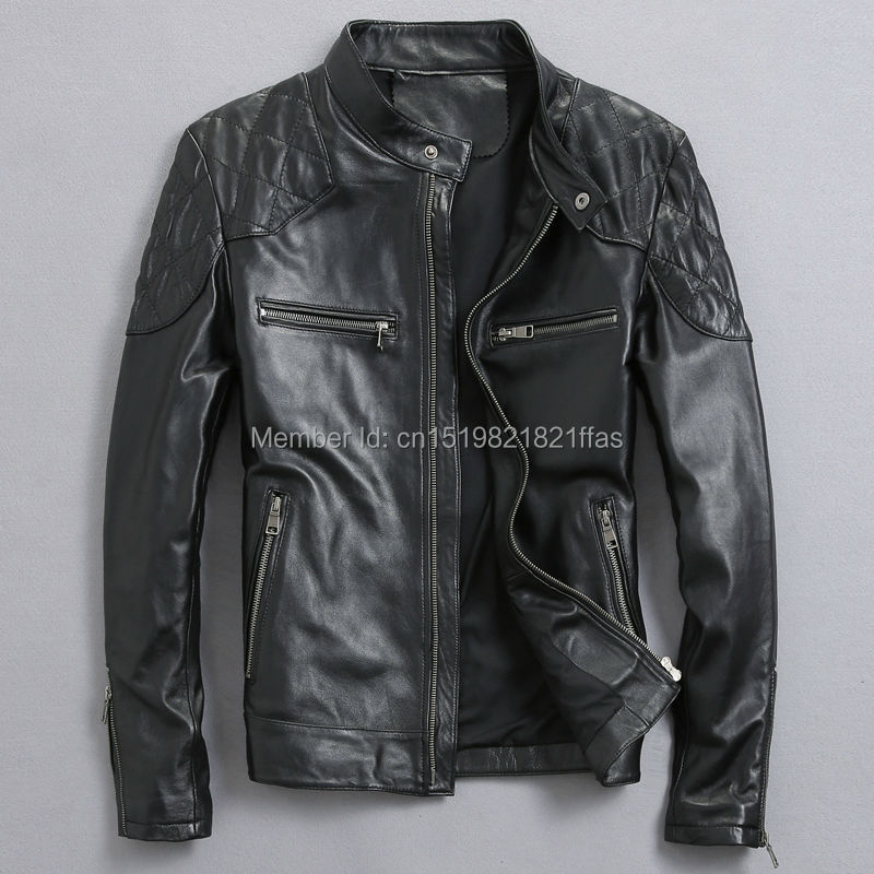 Factory real natural clothing male genuine leather motorcycle jacket slim stand collar short outerwear design flight sheep suit