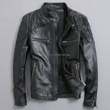 Factory real natural clothing male genuine leather motorcycl
