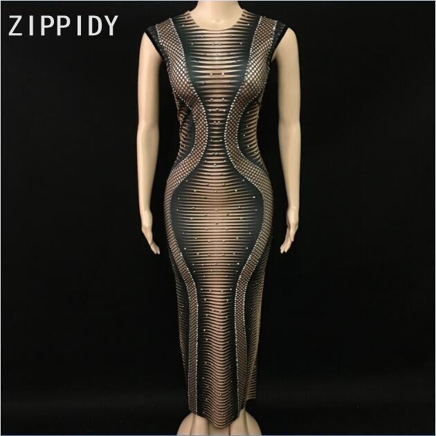 Mode brillant strass noir Spandex imprimé sans manches longue robe femmes chanteur porter discothèque célébrer la robe de danseuse