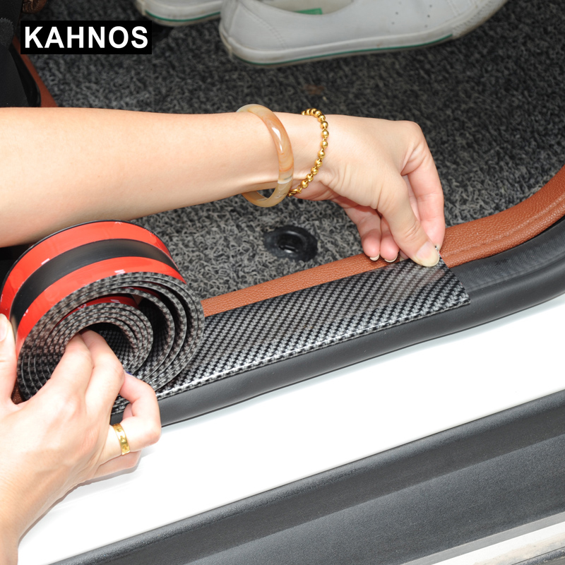 Car Stickers 5D Carbon Fiber Rubber Styling Door Sill Protector Goods For Ford Toyota BMW Audi Mazda KIA Hyundai etc Accessories car floor mats covers free shipping 5d for toyota honda for nissan hyundai buick for ford audi benz for bmw car etc styling