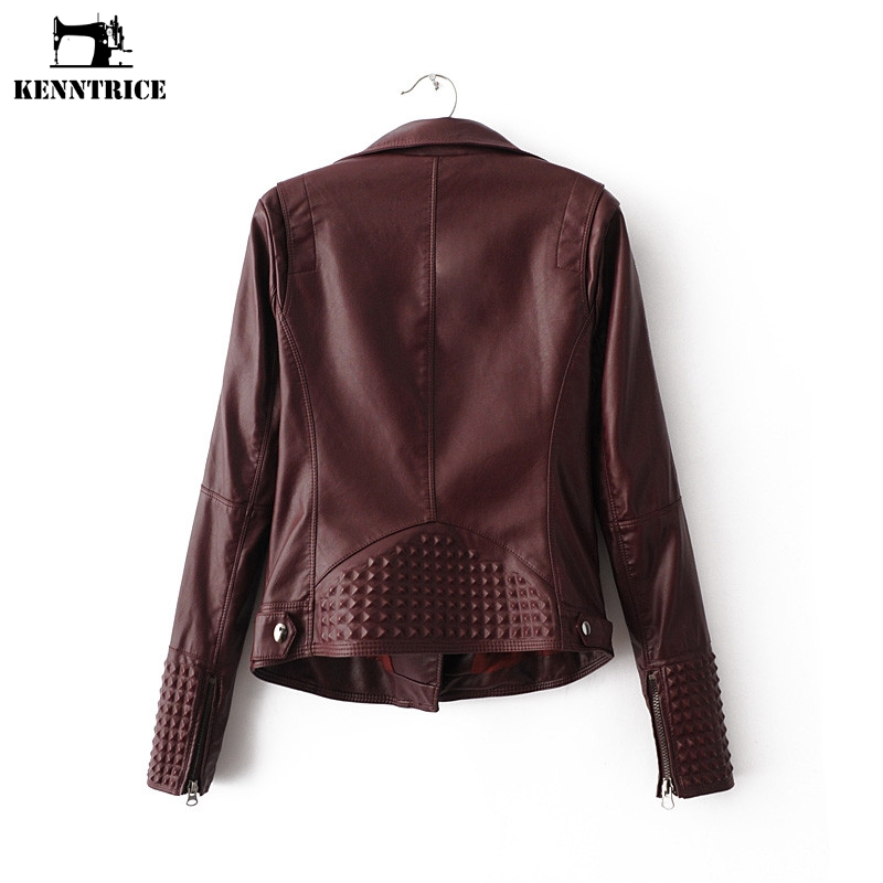 Vestes Red Pu Black Veste dark Moto Femmes Dames Manteau Hiver Cuir Kenntrice Biker En Femme Outwear ZqwCT
