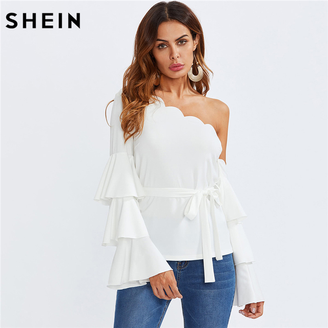 79ca0d363198 SHEIN Long Sleeve Blouse White Layered Sleeve Slim Blouse Party Tiered  Trumpet Sleeve Scalloped One Shoulder