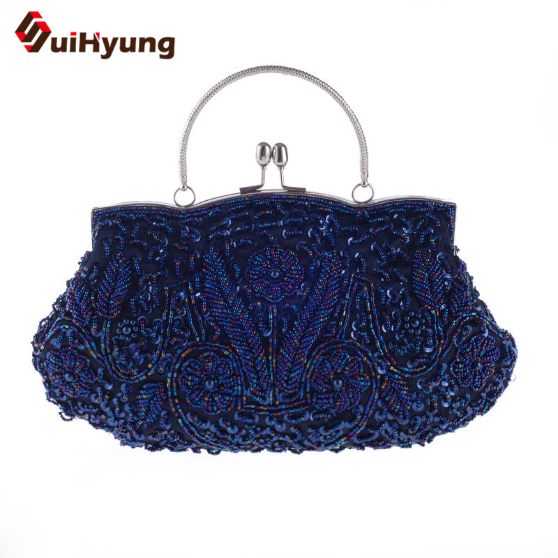 New Women s Retro Hand beaded Evening Bag Sequin Pearl Flowers Wedding Party Tote Bag Ladies