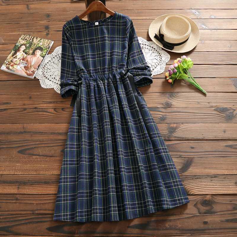 Винтажное осенне-весеннее женское клетчатое платье Mori Girl из хлопка и льна, элегантное женское платье с длинным рукавом, повседневное Свободное длинное платье
