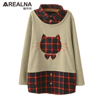 2016 Autumn Winter Kimono Cute Cat Head Fake Two Plaid Cashmere Blouses And Tops Women Plus