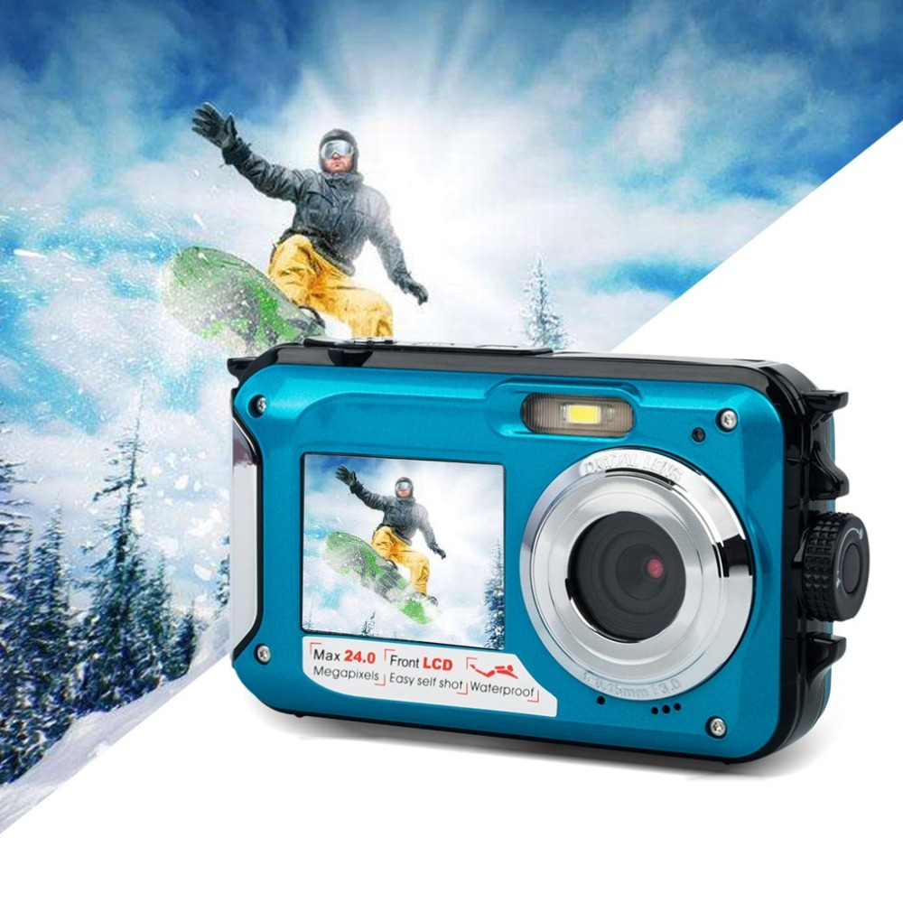 Double Screen Underwater Camera HD Waterproof Photo Shooting Video Recording Sports Diving LED Flash Digital Video Camera