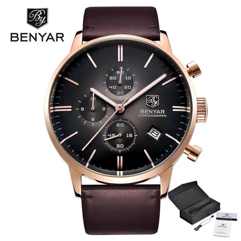 Benyar модные Элитный бренд Для мужчин Часы Reloj Hombre Бизнес кожа кварцевые 30 м Водонепроницаемый часы Relogio Masculino дропшиппинг
