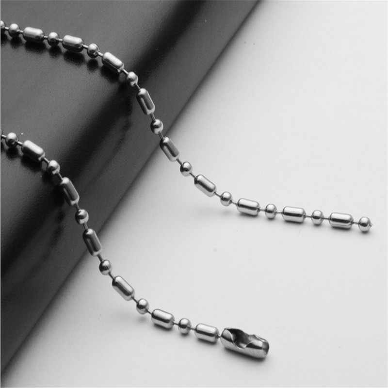 silver stainless steel chain necklace for pendant women & men 2.4mm lobster clasp bamboo round bead chain for diy jewelry making