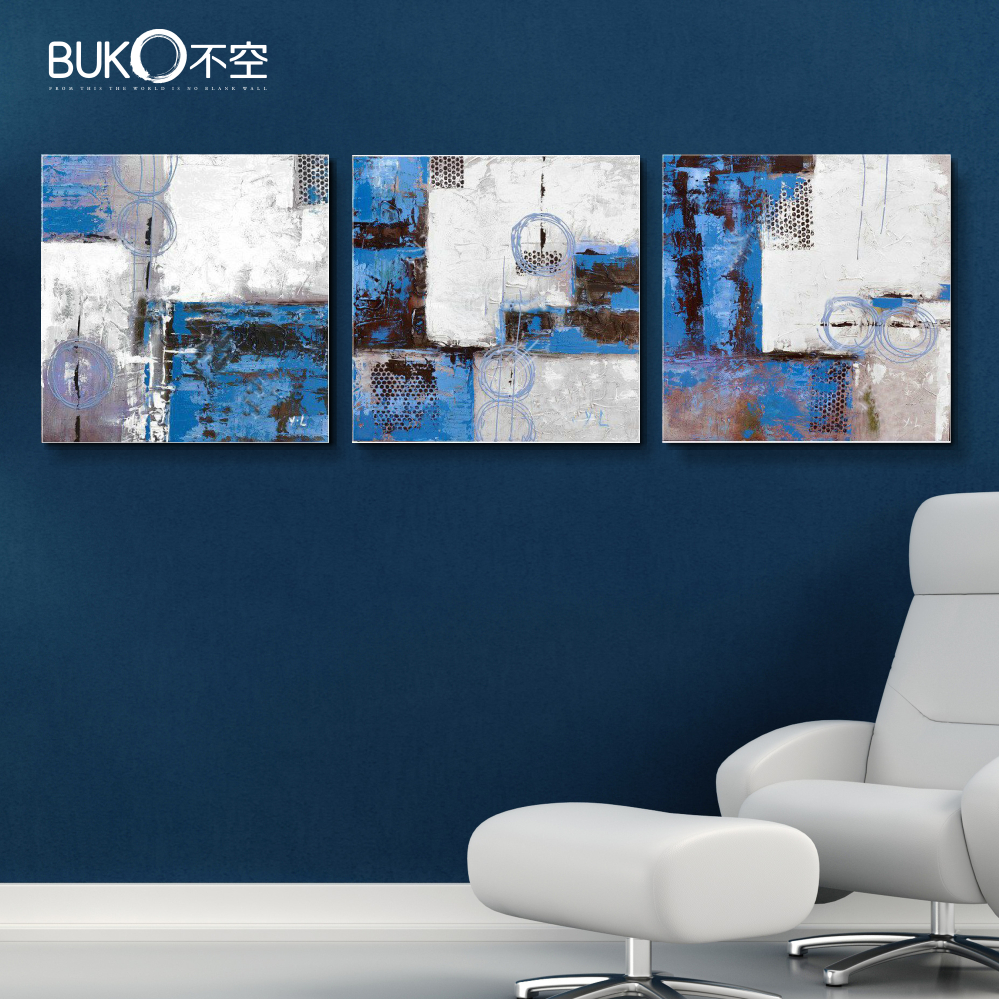 3 panel Hand Painted wall art blue abstract canvas ...