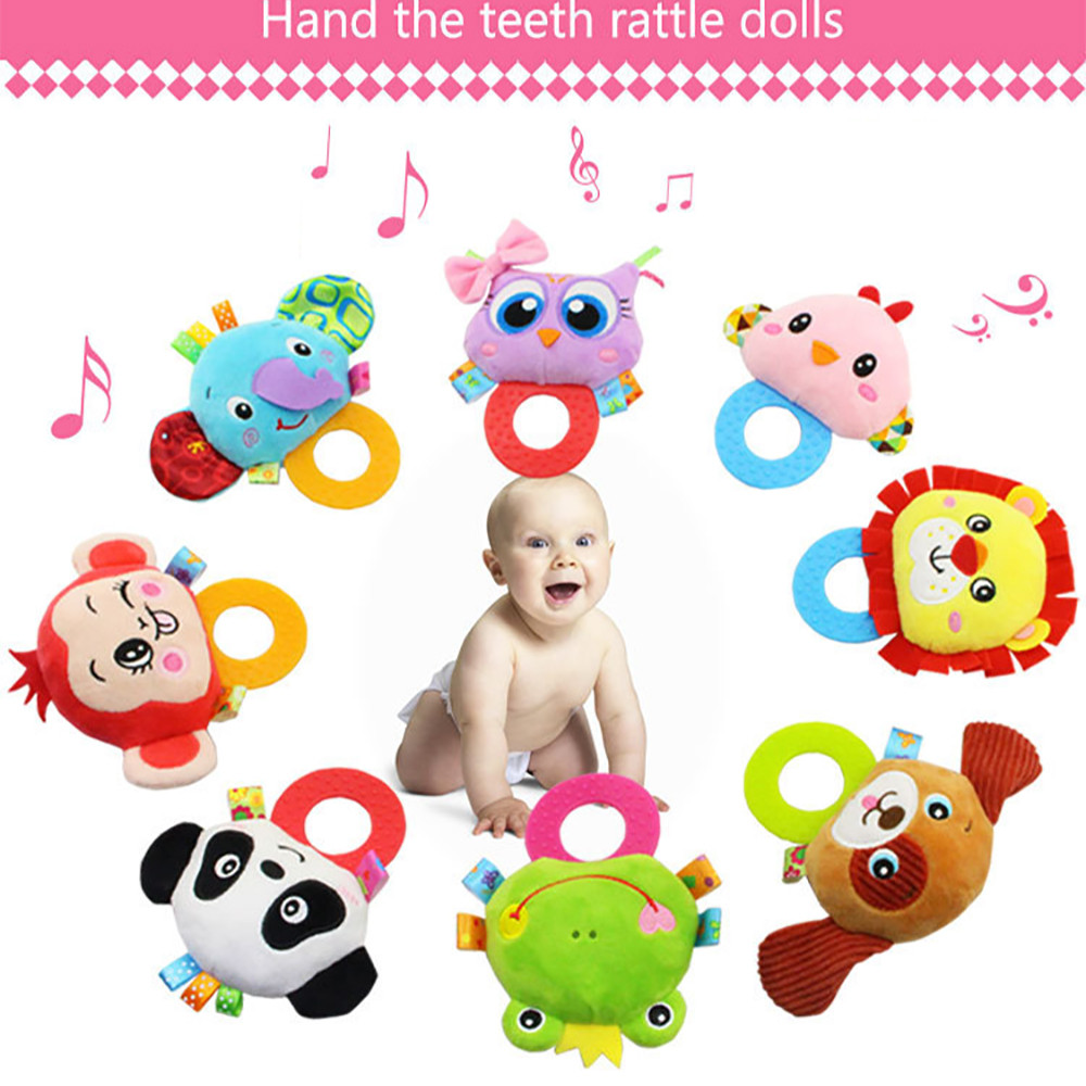 Newborn Rattles Toy Hand Bell Toddler Infant Rings Interactive Cute Cartoon Animal Plush Toys Baby Early Education Gift#YY цена