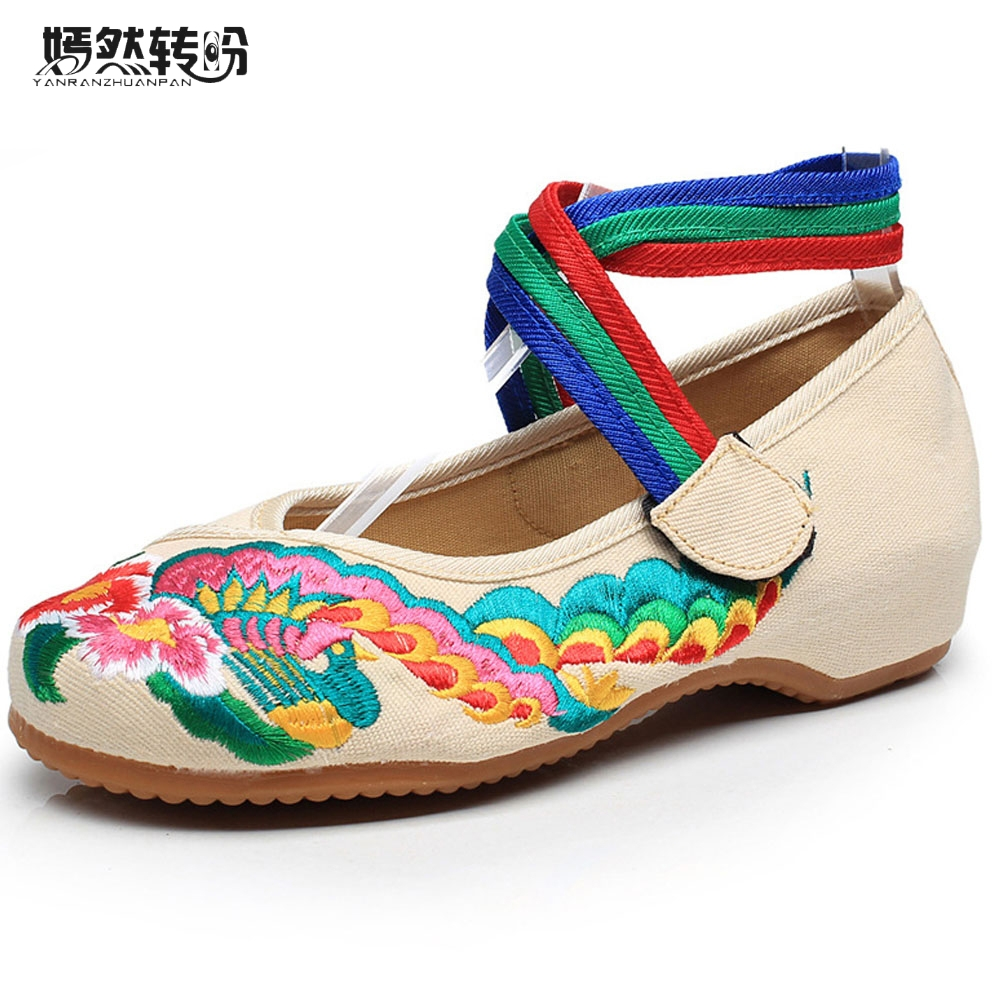 Women Flats Shoes Old Peking Chinese Peacock Embroidery Comfortable Soft Canvas Ballerina Shoes For Women Zapatos Mujer peacock embroidery women shoes old peking mary jane flat heel denim flats soft sole women dance casual shoes height increase