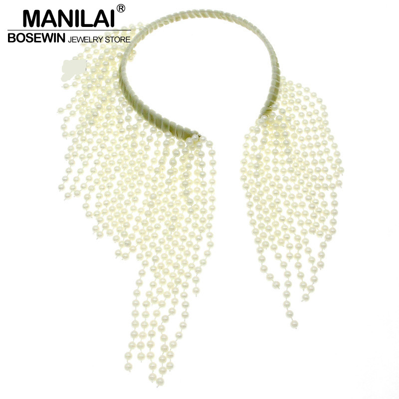 MANILAI Fashion Charm Torques Imitation pearl Tassel Choker Necklace Women Beaded Bib Collar Statement Necklaces & Pendants manilai trendy metal hollow torque choker necklaces women indian punk geometric collar statement necklace jewelry accessories