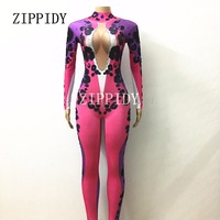 Sexy Purple Leopard Jumpsuit Long Sleeves One piece Stretch Costume Rhinestones Outfit Performance Women Singer Dancer Wear