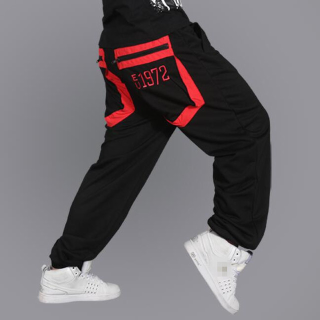 Hiphop Sweatpants Men Letters Embroidery 2017 New Zippered Pocket Male Hip Hop Streetdance Pants Streetwear Free Shipping