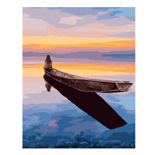 RIHE DIY Painting By Numbers Boat Sea Landscape Oil On Canvas Home Decor Acrylic Paint Wall Art For Living Room 40x50cm