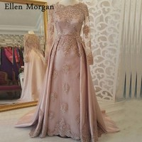 Arabic Moroccan Musilm Evening Dresses Party Elegant for Women Dubai Caftans Saudi Arabian Long Sleveves Lace Vintage Prom Gowns