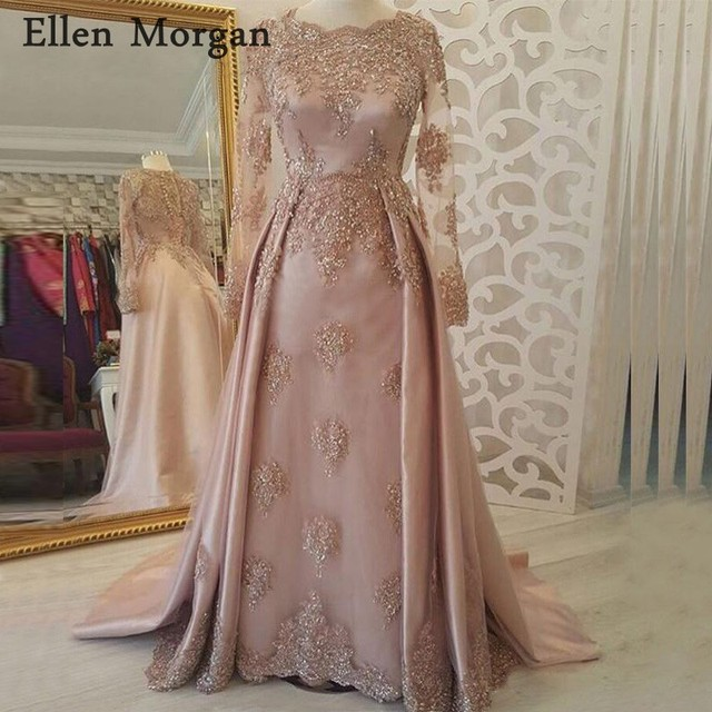 Arabic Moroccan Muslim Evening Dresses Party Elegant for Women Dubai Caftans Saudi Arabian Long Sleeves Lace Night Gowns