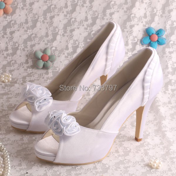 ФОТО Wedopus Super Quality Wedding Shoes with Flowers Shoes Satin Stiletto Pumps Shoes White Satin