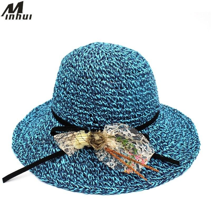 Minhui 2018 nuevas mujeres del sombrero de paja Encaje ala ancha playa Sol  sombrero Floppy plegable beb9f5a2c3c