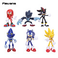 New Arrived Sonic the Hedgehog Sonic / Shadow / Tails / Knuckles PVC Action Figures Collectible Model Toys 6pcs/set 6~7cm