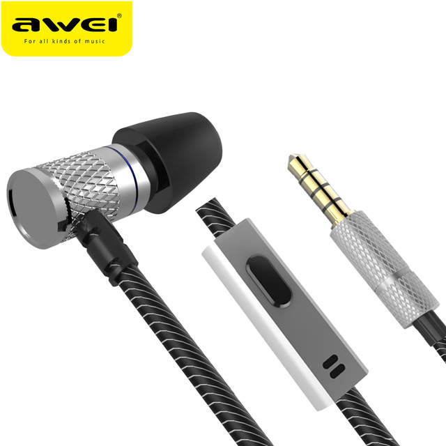 AWEI ES-660I mini Earphone With Microphone Metal Headset HIFI fone de ouvido Audifonos Casque For iPhone Samsung Huawei program awei stereo earphones headset wireless bluetooth earphone with microphone cuffia fone de ouvido for xiaomi iphone htc samsung