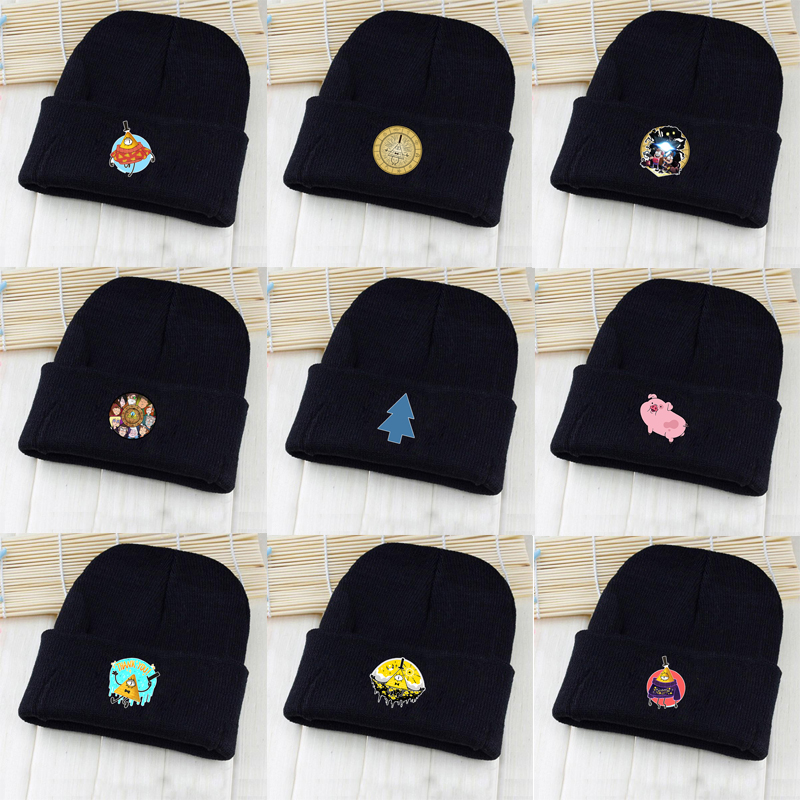 OHCOMICS Anime Gravity Falls Bill Cipher Mabel Dipper Waddles Black Cotton Hat Knitted Hat Cap Sleeve Cap Costume Accessory Gift