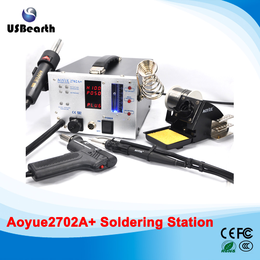220V Lead Free Repairing system, Desoldering station Aoyue 2702A+ ,Hot Air gun esd safe aoyue 768 repairing system digital display hot air gun soldering station mobile dc power supply 3 in 1 system