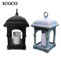 ICOCO Solar Candle Lamp Lantern Light Courtyard Candlesticks Solar Powered Hanging Waterproof Decorative Light for Home Outdoor