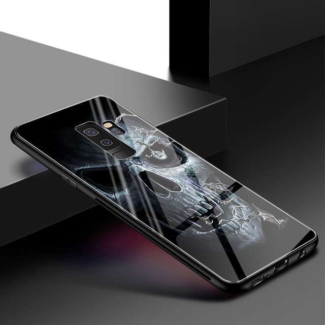 3D SKULL LUXURY TEMPERED GLASS SAMSUNG PHONE CASE (9 VARIAN)