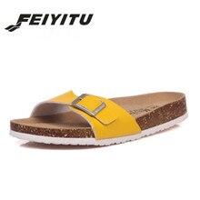 Купить с кэшбэком  FeiYiTu Summer Style Shoes Womens Orthotic Sandals Cork Slippers Slip-on Casual Classics Flip Flop Size 35-43 Shoes white pink