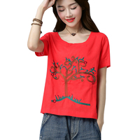 Linen Shirts For Woman 2018 Summer Women S Larges Size Clothing Embroidery Blouse XXXL Loose Cotton