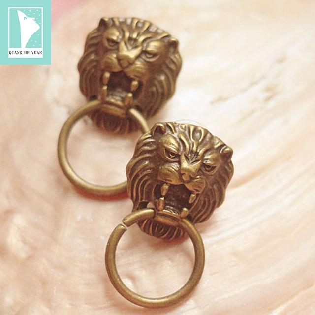 Fashion lion door knocker earrings vintage women copper earrings kolczyki kupe