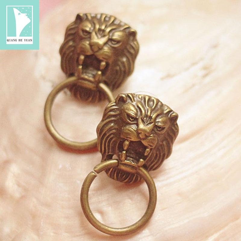 Fashion lion door knocker earrings vintage women copper earrings