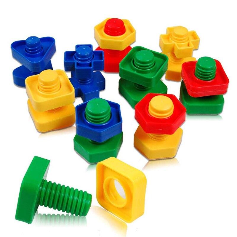Gewijd Schroef Bouwstenen Plastic Insert Blokken Montessori Schaal Modellen Moer Vorm Voor Kinderen Educatief Speelgoed Kids Christmas Gift