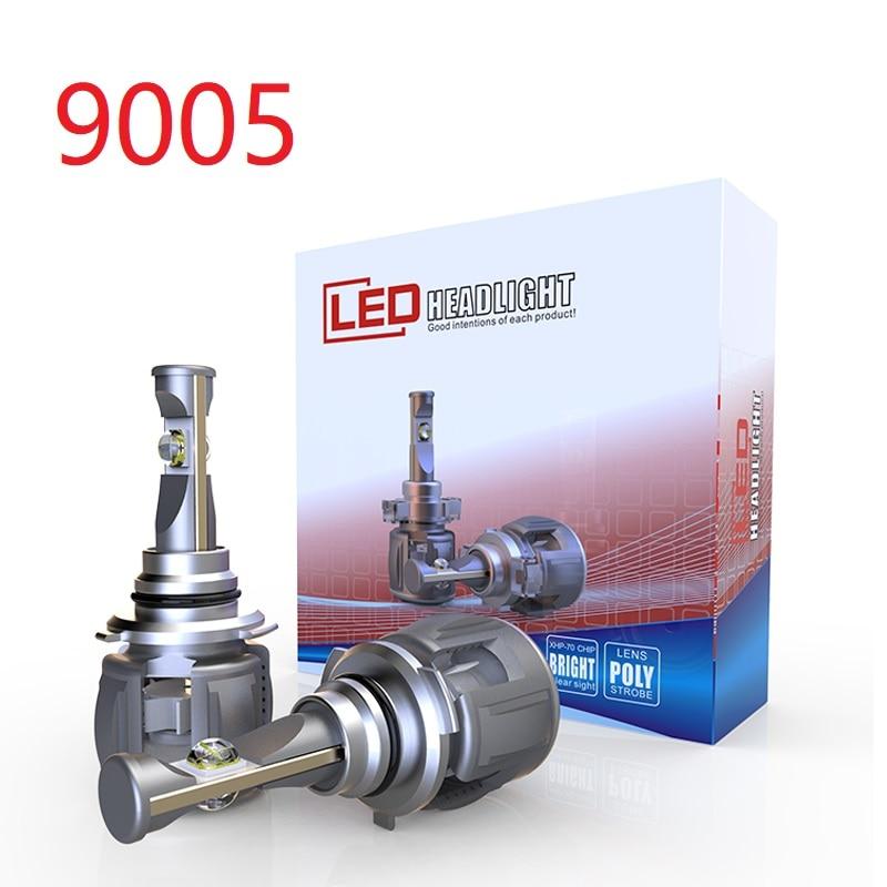 1 セット 9005 HB3 60 ワット 7800LM X70 Led ヘッドライト、フロントレンズランプ電球 XHP 70 4SMD チップターボファン白 6000 k レンズ 120 ワット 15600lm  グループ上の 自動車 &バイク からの 車のヘッドライトの球 (LED) の中 1