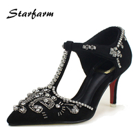 Pumps Woman Red Bottom Sole Ladies Thin High Heel Crystal Fashion Dress Shoes Sheep Suede Genuine