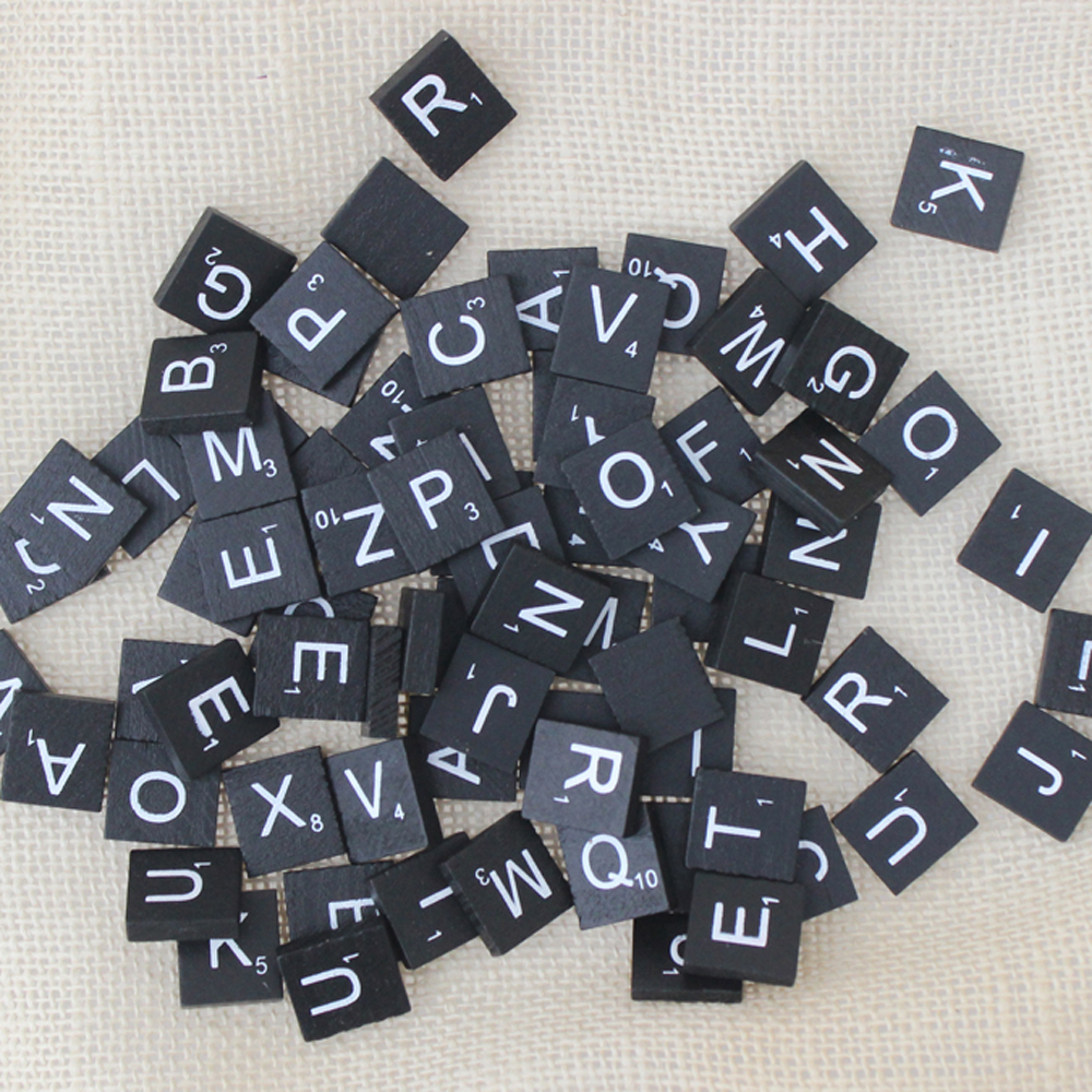 100 Pieces * Black Scrabble Tiles Letters-Pendant Scrapbooking Printing Wooden Photo Props Study Practice Wedding Gifts Favors