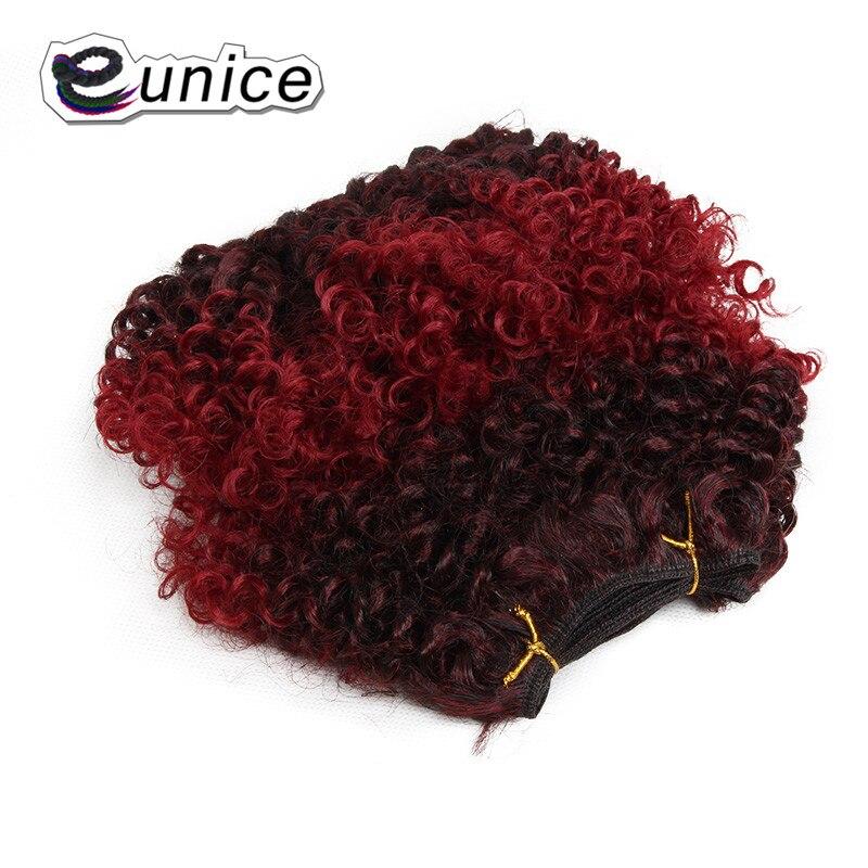 Юнис 8 афро кудрявый вьющиеся машина двойной уток волос 2 пакеты Синтетические волосы ткань шить в Ombre Наращивание волос Цветной 1b/ошибки
