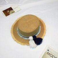 2017 Sombrero Sun Hats For Women Panama Cap Handmade Custom Striped Tassel Hair Ball Rafael Weave