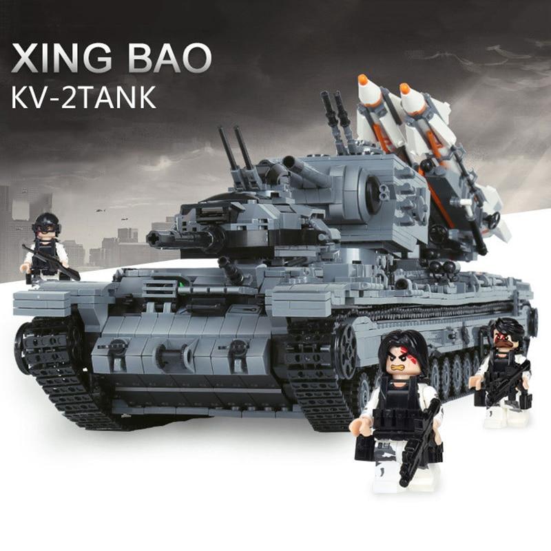 XingBao 06006 3663 Шт Военный серии KV 2 бак дети Модель Строительство Наборы Совместимость LegoINGLYs с фигурками подарок