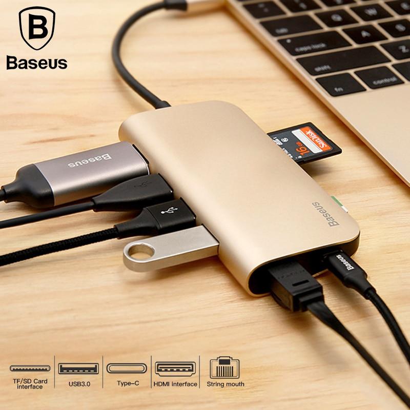 Baseus 8in1 USB Type C 3.1 HUB for Type C to 3 USB 3.0 / 4K HDMI / RJ45 Ethernet / Micro SD TF Card Reader / USB Type C OTG HUB