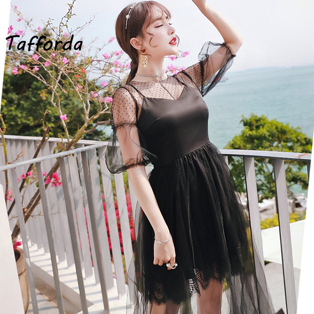 7cd827d78cd Tafforda 2017 White Summer Women s Europe Style Fashion Lace Dresss Trap  Hook Flower Stitching Harness Holiday